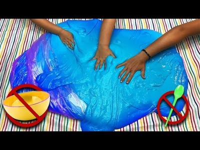 How to make Giant Fluffy Slime in a Bag! DIY GIANT SIZED SLIME without a bowl