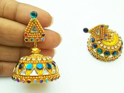 How To Make Silk Thread Earrings. DIY. Simple and beautiful designs +earring(earring). beginers