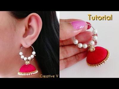 How to Make Silk Thread Jhumka Hoop Earrings Tutorial. DIY