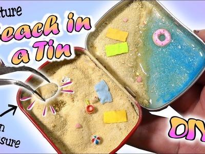 How To Mini Beach In A Tin Tutorial. Cute Summer DIY Miniature