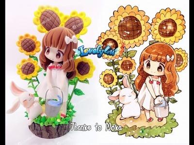 Lovely4u | VO6 | Sunflower Girl | DIY| Clay Figure Tutorial | mokarooru oc fan art