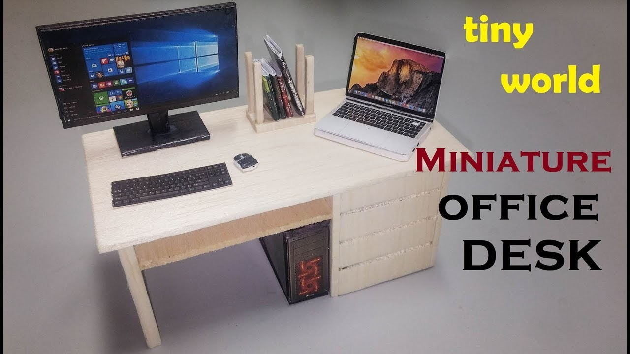 Miniature - How to Make Tini Office Desk Using Popsicle Sticks - Craft For Kid