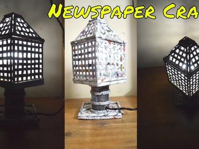 Newspaper Bed Lamp | DIY Newspaper Craft Lampshade | Handmade Lamp