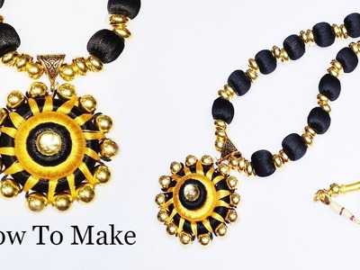 Silk thread beads necklace making Easy Tutorial simple Diy
