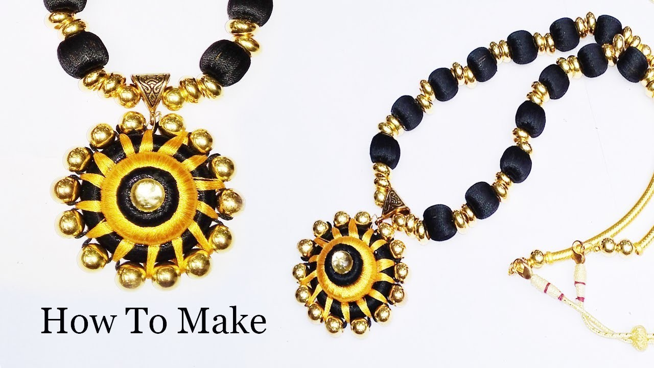 Silk thread beads necklace making Easy Tutorial simple Diy