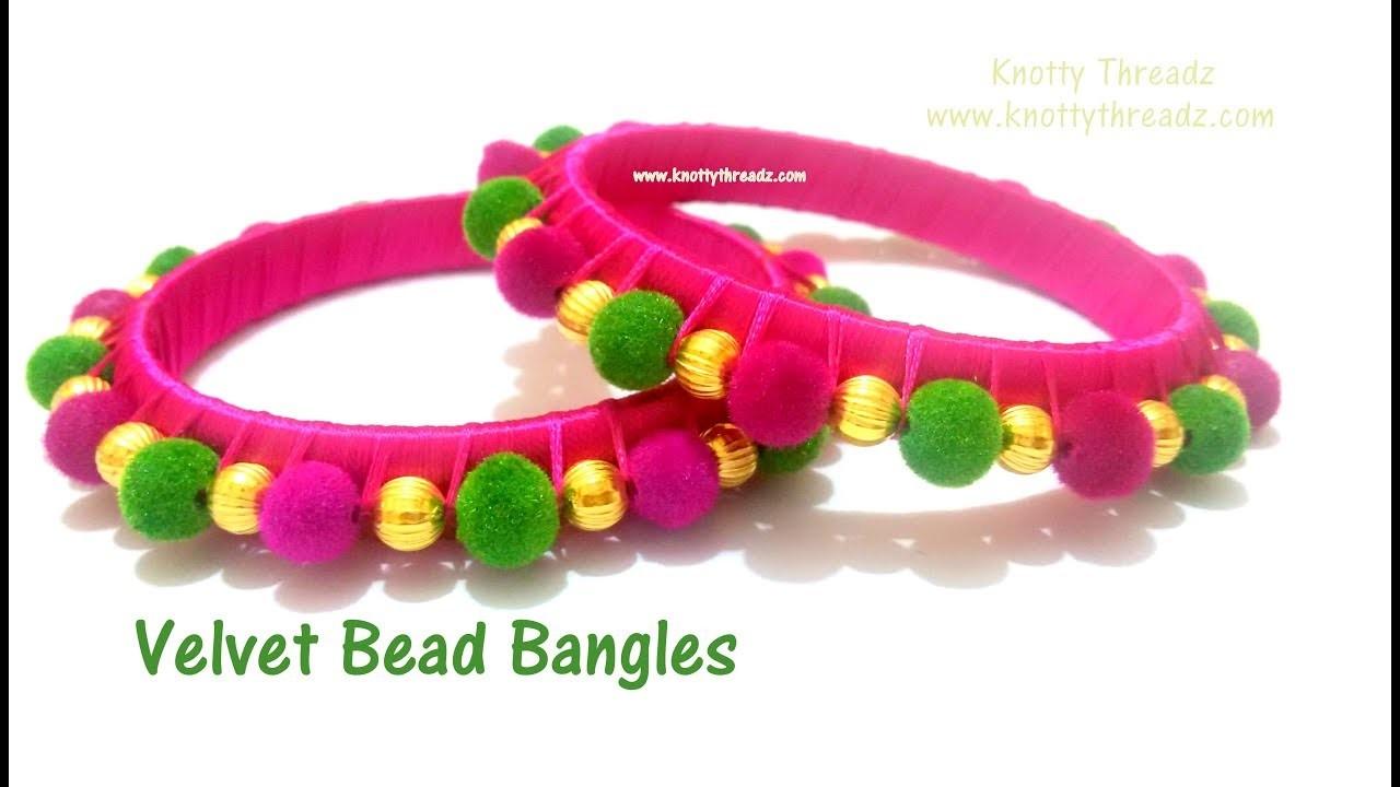 Silk Thread Jewelry | Making of Velvet Beaded Bangles | DIY Tutorial | www.knottythreadz.com