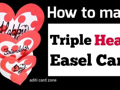 Triple heart easel card tutorial   Handmade card ideas  3d card for teacher's day   Diy card  