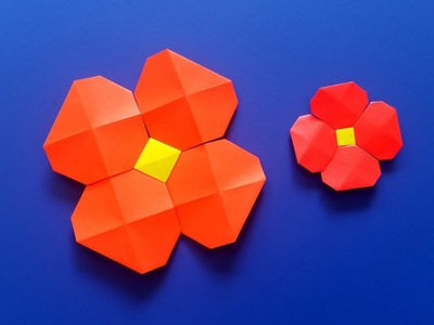 Very Easy Origami Flower with Origami Pixels - Paper Crafts and DIY Tutorial