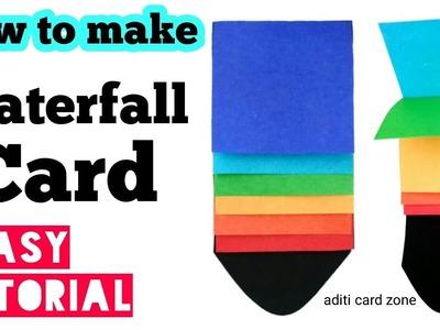 Waterfall card tutorial   Teacher's day card   Handmade card ideas   Diy card  