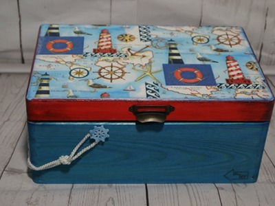 #28. SEA BOX. MORSKA SKRZYNKA . TUTORIAL DIY. DECOUPAGE