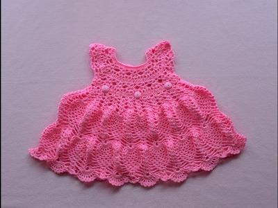 Crochet baby dress.tutorial.pinky pie crochet baby dress part 1