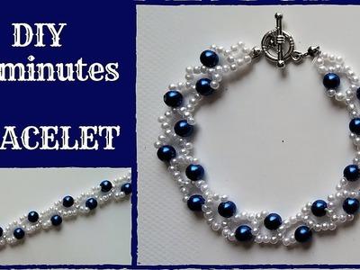 DIY 10 minutes bracelet. Beading tutorial for beginners.