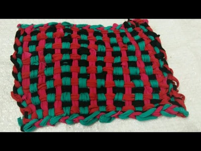 DIY beautiful mat without Needle and crochet बिना सुई या करोशिये के आसन या पायदान बनाना