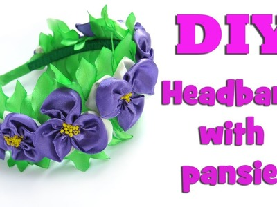 DIY headband with pansies. Kanzashi tutorial