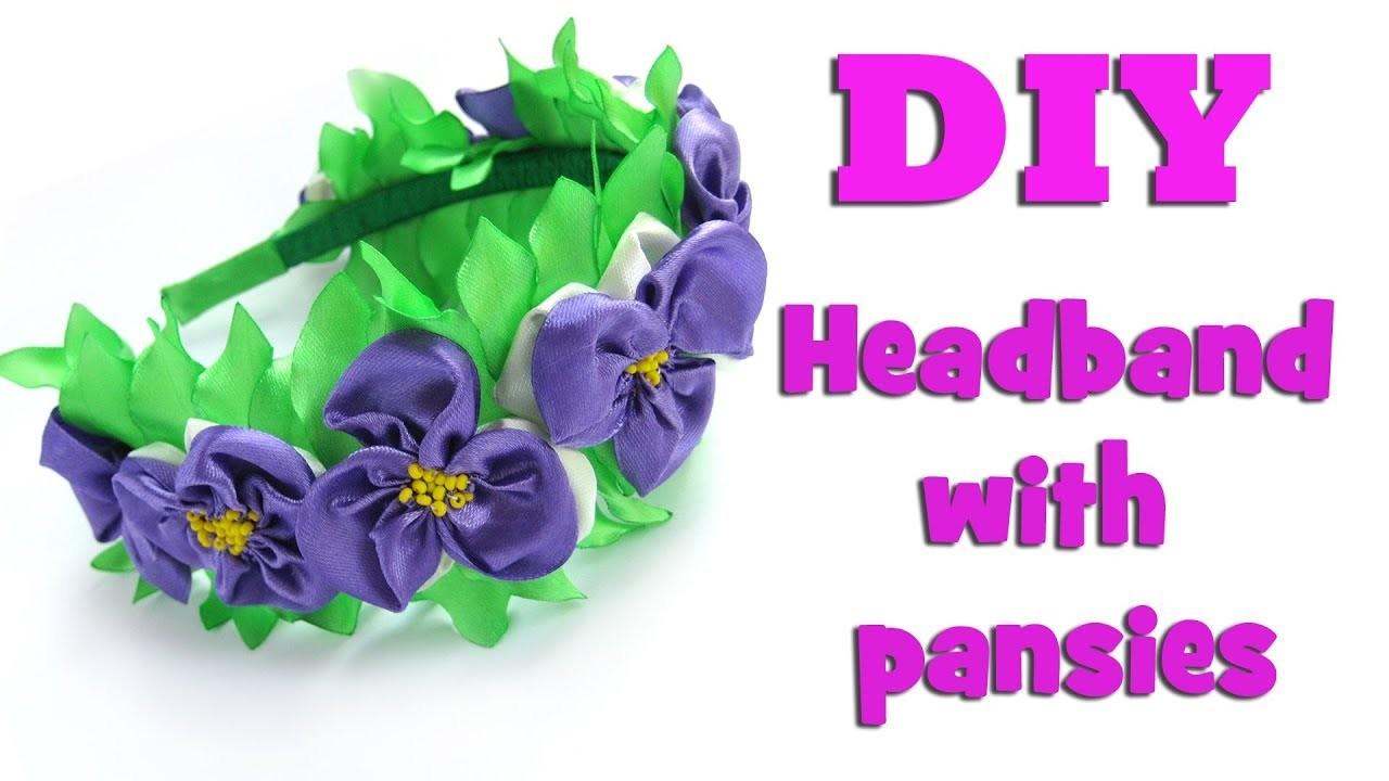 DIY headband with pansies. Kanzashi tutorial