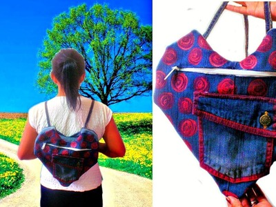 DIY Heart Backpack Out of Old Jeans * How to Make a Backpack at Home