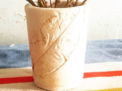 DIY How to apply Guava Leaf Texture on ceramics.CERAMICS.Pottery at home.homemade planters.episode 3