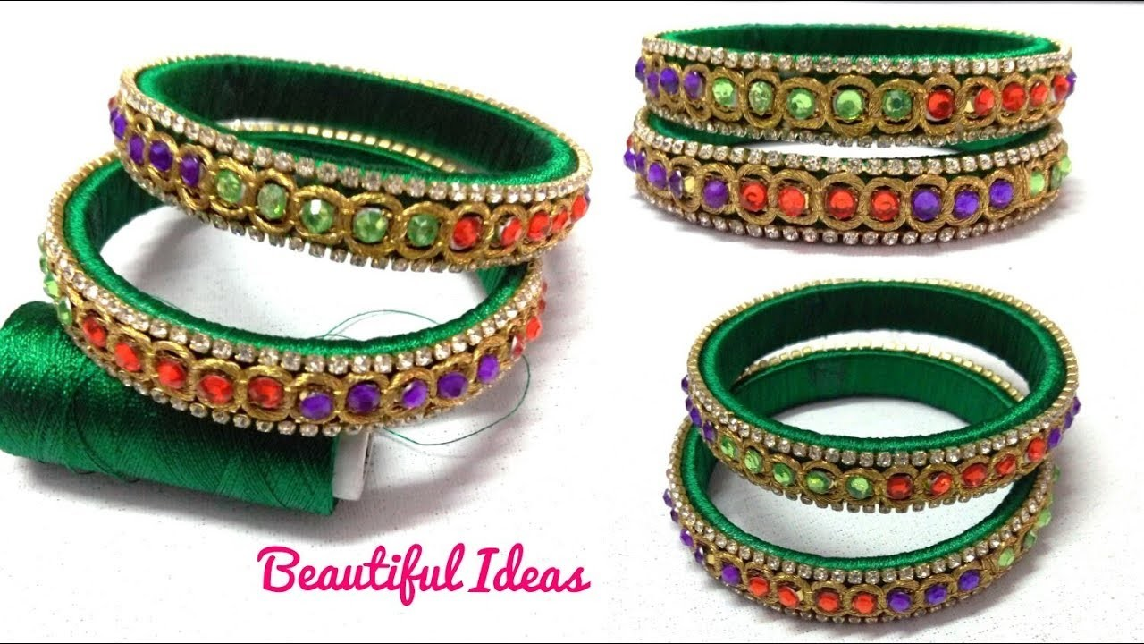 DIY.How to Make Silk thread Designer Bangles.Designer Lace Bangles  Making at Home.