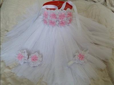 DIY how to make Tutu dress for baby christening.Baptism or Birthdays