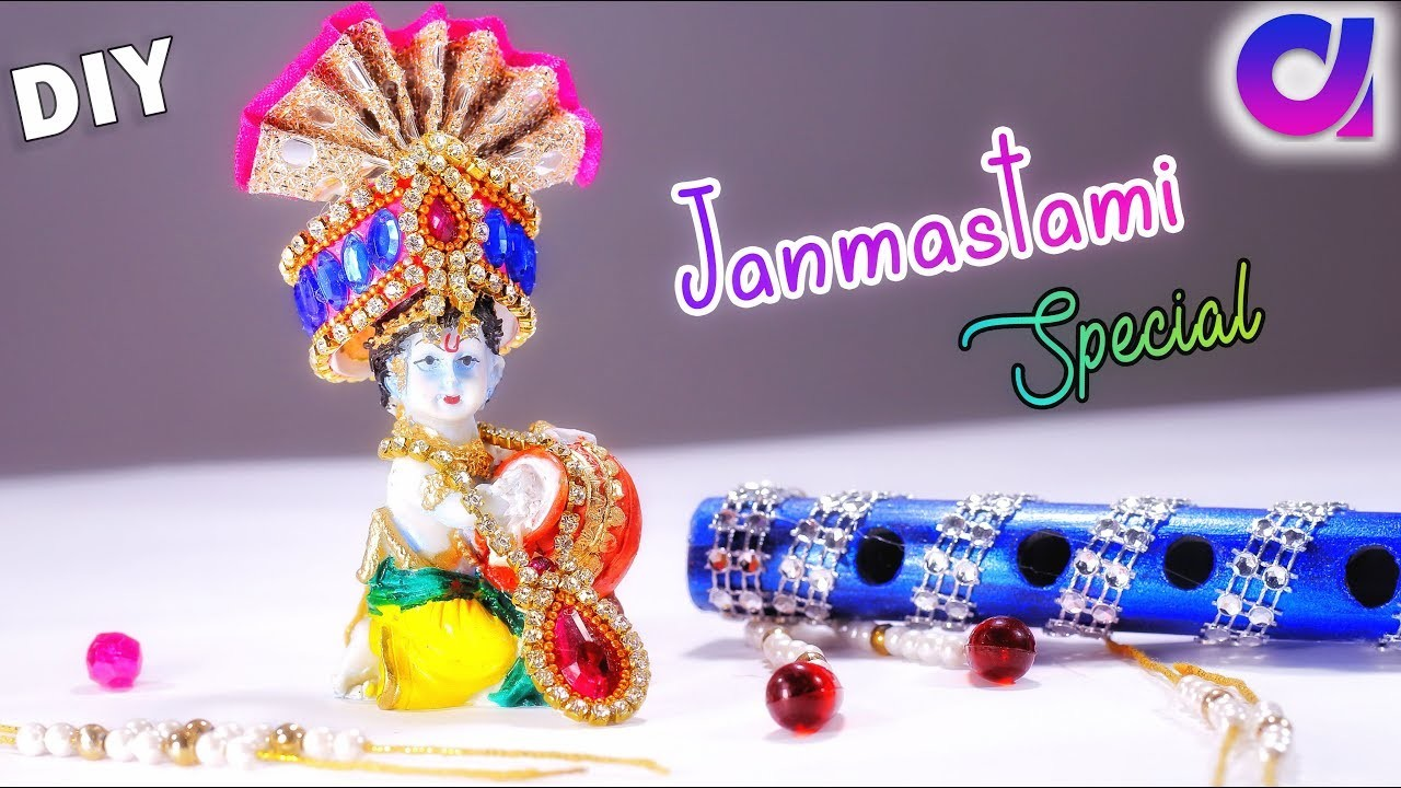 Diy ideas | how to make Pagri, Jewellery And Flute for bal gopal at home | Janmashtami | Artkala 268