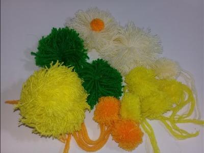 DYI WOOLEN FLOWER   How to Make Woolen Flower   Mini Yarn Pom Poms Design Making