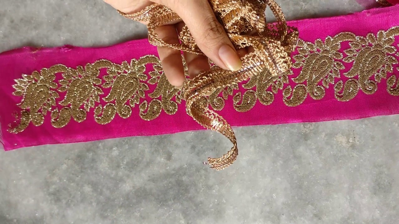 How To Attach Fabric Inside Net Lace And How to Design your saree.
