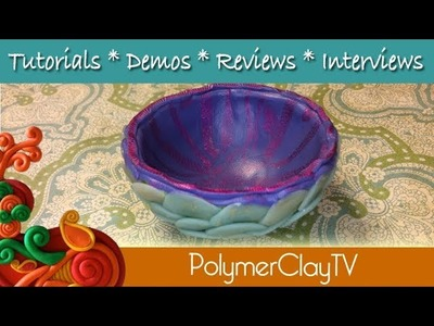 How to create a polymer clay trinket bowl with cane slices and mylar foils