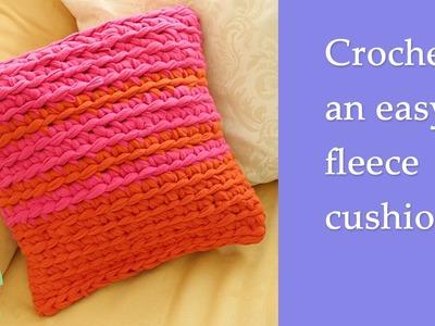 How to crochet an easy  fleece cushion cover