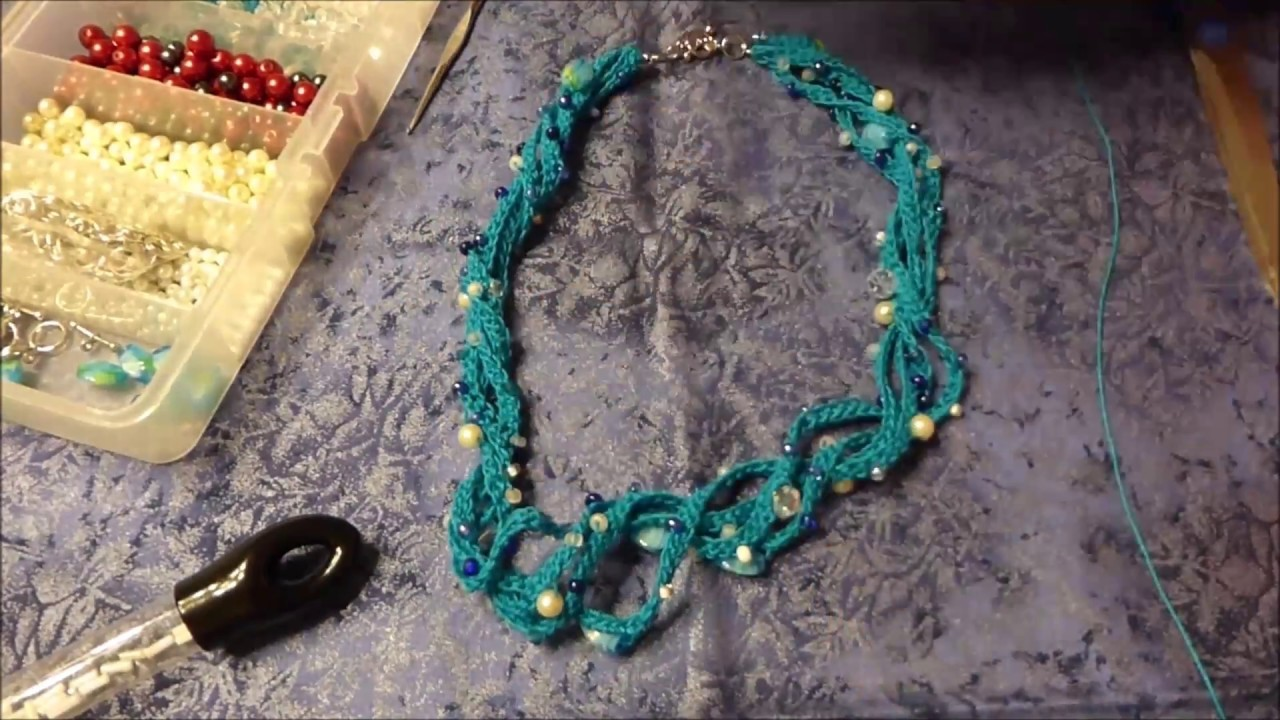 How to crochet with beads, make a crochet necklace