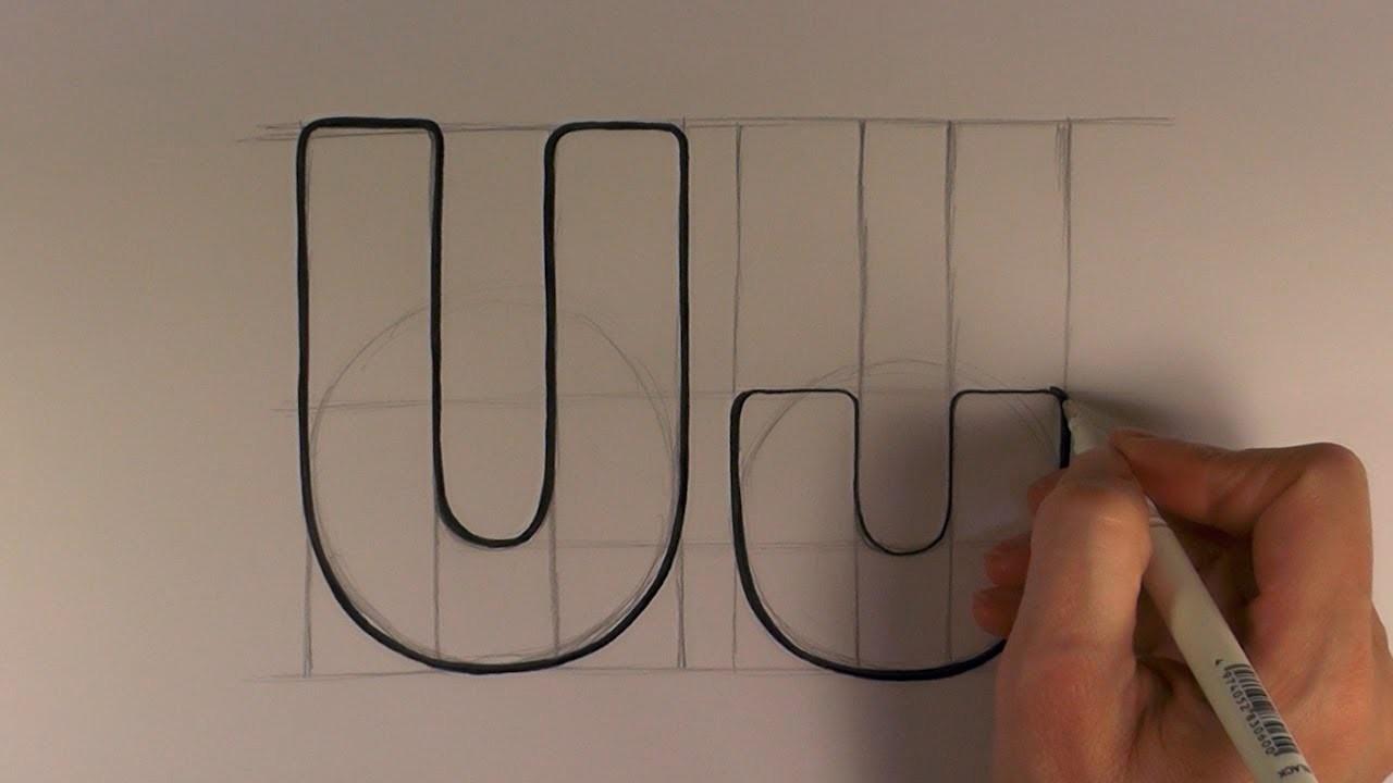 How to Draw a Cartoon Letter U and u