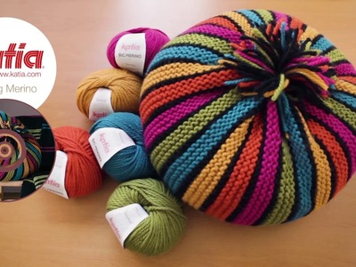 How to Knit a Striped Round Cushion