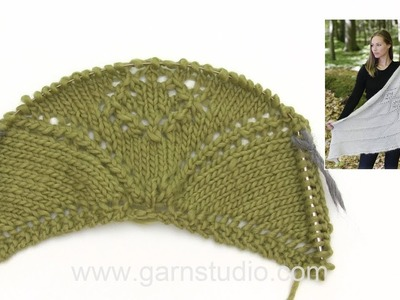 How to knit the shawl with lace pattern in DROPS 179-35
