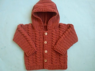 How to make Baby Crochet Cabled  Cardigan Sweater