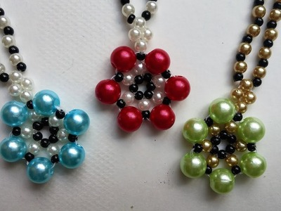 How to make beaded flower necklace. Easy jewelry pattern for beginners