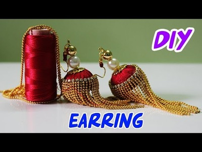 How To Make Designer Earrings|How To Make Paper Earrings|Gold Jewellery Making.DIY| Eid special