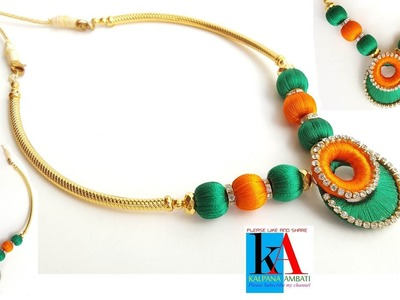 How to Make Designer Silk Thread Necklace. Silk Thread Necklace with Chandbali ring.diy