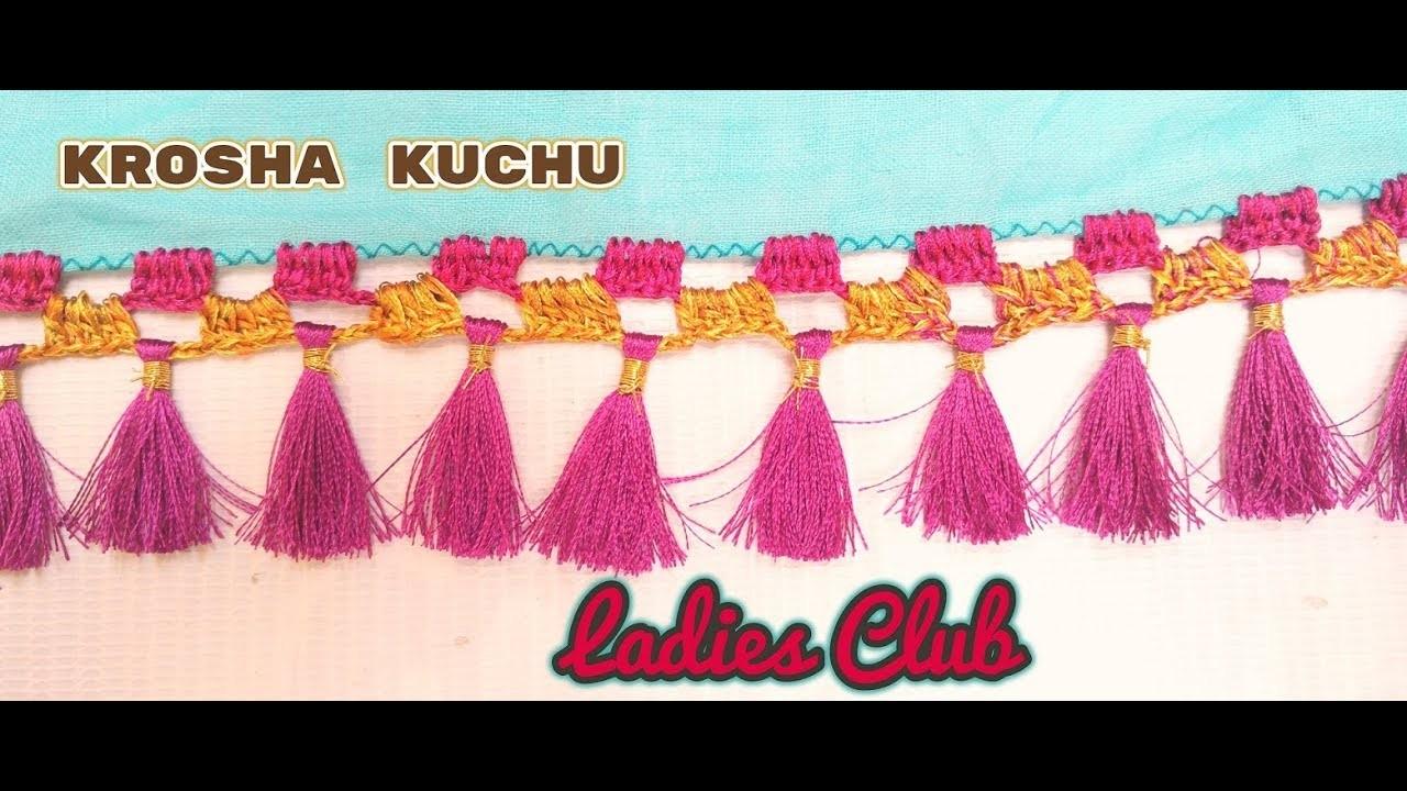 How to make Double Color Krosha. Crochet Kuchu I Saree Tassels I DIY I Tutorial