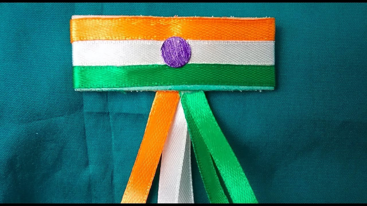 How to make Indian tri color badge easily at home with satin ribbon l DIY ,Indian flag making video