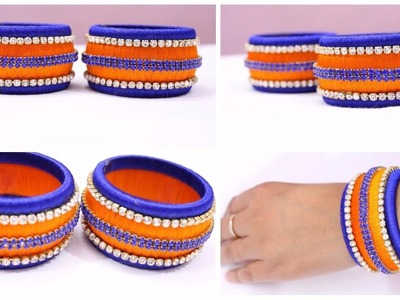 How to make latest designer silk thread bangle at home I DIY Silk thread bangle I Creative Diaries