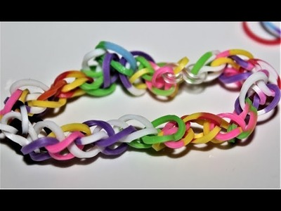 How to Make Loom Bands Easy Rainbow Designs without a Loom - Rubber band