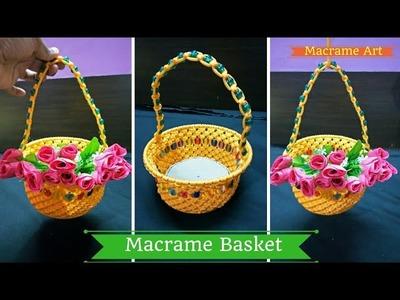 How to make Macrame Basket | Macrame Art diy tutorial
