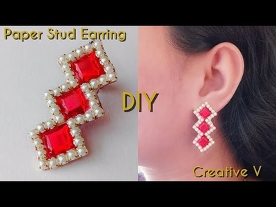 How to Make Paper Stud Earring. Tutorial.Design 5