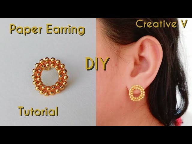 How to Make Paper Stud Earring. Tutorial.Design 4