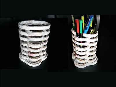 How To Make Pen Stand With Newspaper. DIY Pen Stand. Best Out Of Waste