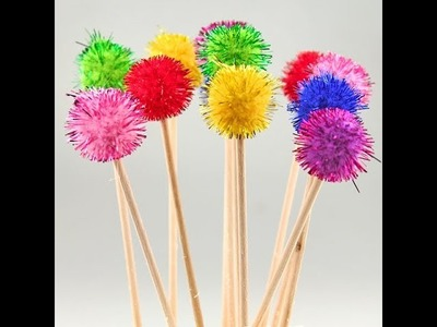 How to make pom pom stick and join with pom poms - homix easy tutorials