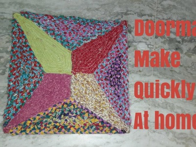 How to Make quickly doormat to use old cloths and scarf. Diy  smart idea to make doormat at home.