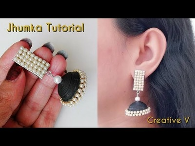 How to Make Quilling Jhumka. Quilling Earrings. Tutorial. Paper Base Stud