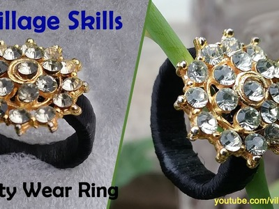 How to make quilling paper finger ring l DIY ,silk thread party wear ring making with calendar paper
