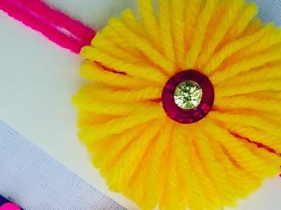 How to make Rakhi # 02 , how to make Rakhi for Raksha Bandan with yarn flower l DIY rakhi making