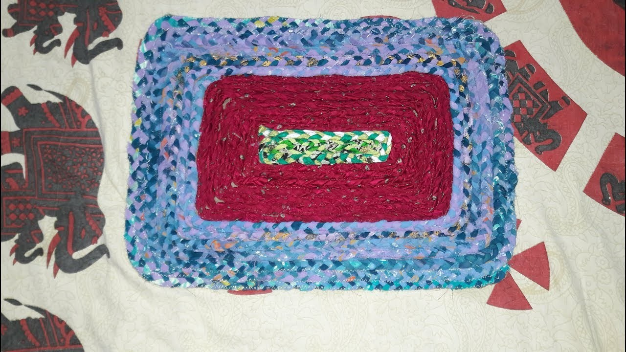 How to Make rectangle  shape doormat to use old cloth.bathroom rug make with old cloths.